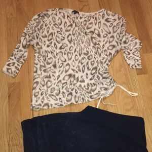 Oversized Off The Shoulder Animal Print Sweater
